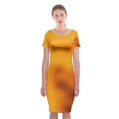 Blurred Glass Effect Classic Short Sleeve Midi Dress