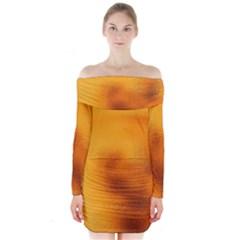 Blurred Glass Effect Long Sleeve Off Shoulder Dress