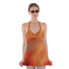Bright Tech Background Halter Swimsuit Dress