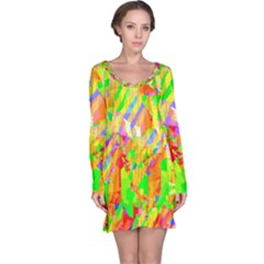 Cheerful Phantasmagoric Pattern Long Sleeve Nightdress