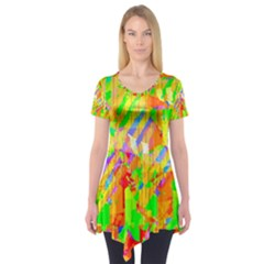 Cheerful Phantasmagoric Pattern Short Sleeve Tunic