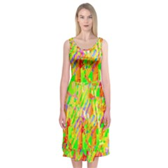 Cheerful Phantasmagoric Pattern Midi Sleeveless Dress