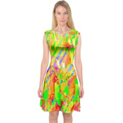 Cheerful Phantasmagoric Pattern Capsleeve Midi Dress