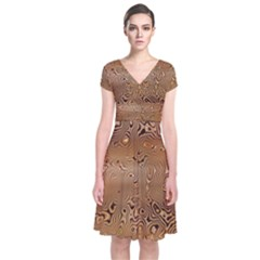 Circuit Board Short Sleeve Front Wrap Dress