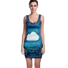 Circuit Computer Chip Cloud Security Sleeveless Bodycon Dress