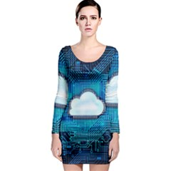 Circuit Computer Chip Cloud Security Long Sleeve Bodycon Dress