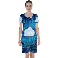 Circuit Computer Chip Cloud Security Short Sleeve Nightdress
