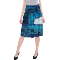 Circuit Computer Chip Cloud Security Midi Beach Skirt