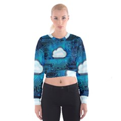 Circuit Computer Chip Cloud Security Women s Cropped Sweatshirt