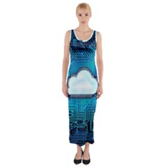 Circuit Computer Chip Cloud Security Fitted Maxi Dress