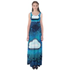Circuit Computer Chip Cloud Security Empire Waist Maxi Dress