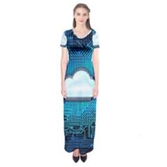 Circuit Computer Chip Cloud Security Short Sleeve Maxi Dress