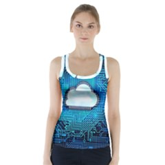 Circuit Computer Chip Cloud Security Racer Back Sports Top