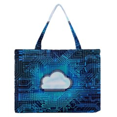 Circuit Computer Chip Cloud Security Medium Zipper Tote Bag