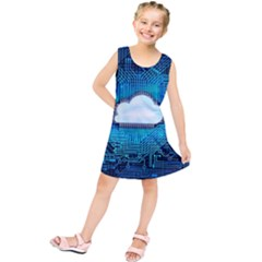 Circuit Computer Chip Cloud Security Kids  Tunic Dress