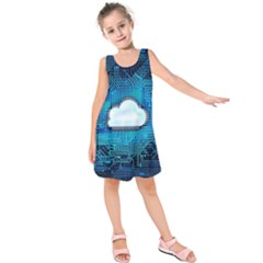 Circuit Computer Chip Cloud Security Kids  Sleeveless Dress