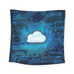 Circuit Computer Chip Cloud Security Square Tapestry (small)