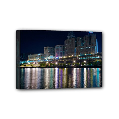Cleveland Building City By Night Mini Canvas 6  X 4