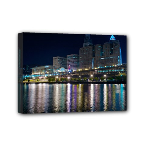 Cleveland Building City By Night Mini Canvas 7  X 5