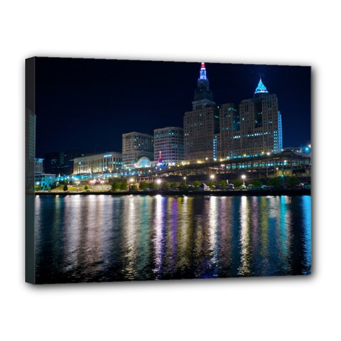 Cleveland Building City By Night Canvas 16  X 12