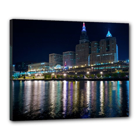 Cleveland Building City By Night Canvas 20  X 16