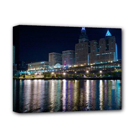 Cleveland Building City By Night Deluxe Canvas 14  X 11