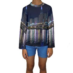 Cleveland Building City By Night Kids  Long Sleeve Swimwear
