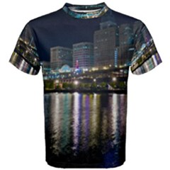 Cleveland Building City By Night Men s Cotton Tee