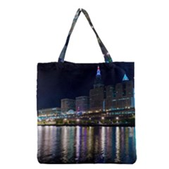 Cleveland Building City By Night Grocery Tote Bag