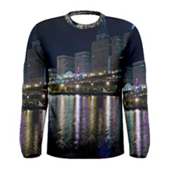 Cleveland Building City By Night Men s Long Sleeve Tee