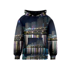 Cleveland Building City By Night Kids  Pullover Hoodie
