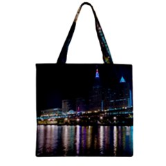 Cleveland Building City By Night Zipper Grocery Tote Bag