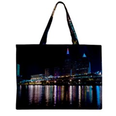 Cleveland Building City By Night Zipper Mini Tote Bag