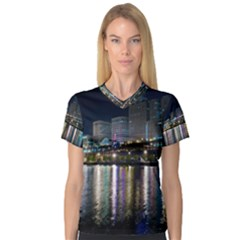 Cleveland Building City By Night Women s V Neck Sport Mesh Tee