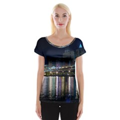 Cleveland Building City By Night Women s Cap Sleeve Top