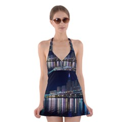 Cleveland Building City By Night Halter Swimsuit Dress