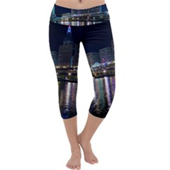Cleveland Building City By Night Capri Yoga Leggings