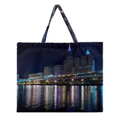 Cleveland Building City By Night Zipper Large Tote Bag