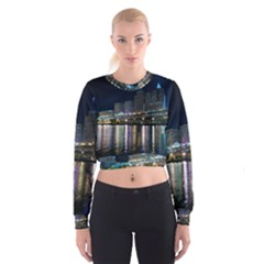 Cleveland Building City By Night Women s Cropped Sweatshirt