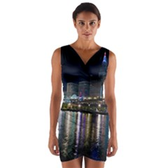 Cleveland Building City By Night Wrap Front Bodycon Dress