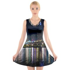Cleveland Building City By Night V-Neck Sleeveless Skater Dress