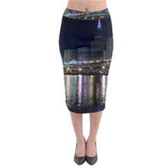 Cleveland Building City By Night Midi Pencil Skirt