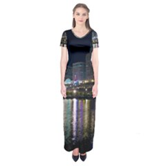 Cleveland Building City By Night Short Sleeve Maxi Dress