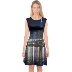 Cleveland Building City By Night Capsleeve Midi Dress