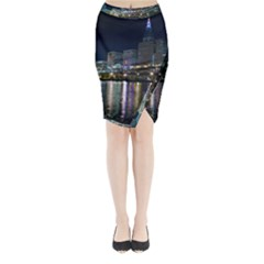 Cleveland Building City By Night Midi Wrap Pencil Skirt