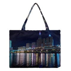 Cleveland Building City By Night Medium Tote Bag