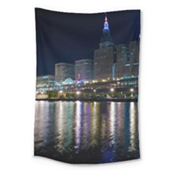 Cleveland Building City By Night Large Tapestry
