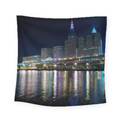 Cleveland Building City By Night Square Tapestry (small)