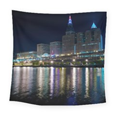 Cleveland Building City By Night Square Tapestry (large)