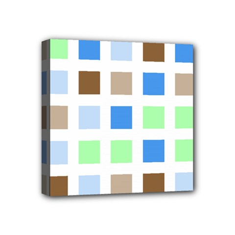 Colorful Green Background Tile Pattern Mini Canvas 4  X 4